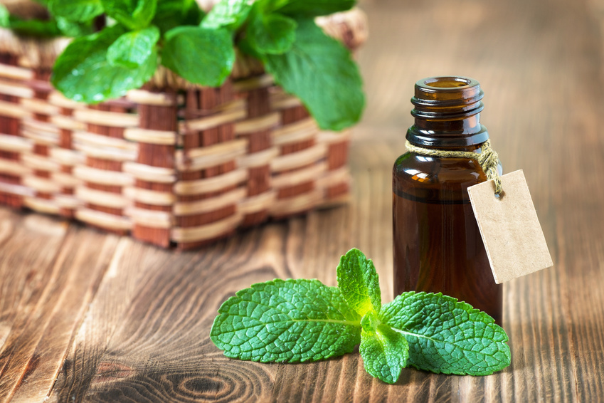 Peppermint essential oil in a glass bottle with a tag on wooden background